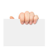 Isolated man hand holding a piece of paper Royalty Free Stock Photography