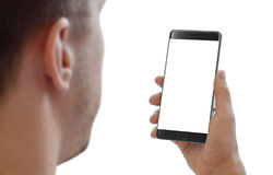 Isolated man head and smart phone in hand for mockup Royalty Free Stock Photography