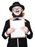 Isolated man holding blank clipboard on white Royalty Free Stock Photography