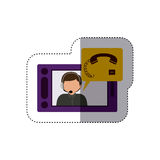 Isolated man operator design. Man operator icon. Call center technical service online and support theme. Isolated design. Vector illustration Stock Image