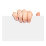 Isolated man's hand holding a piece of paper Royalty Free Stock Image