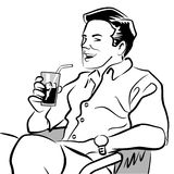 Isolated man sipping a soda. Detail of illustration in black and white a man sitting in a lawn chair drinking an soda with ice Royalty Free Illustration