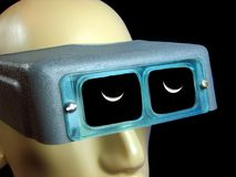 Isolated mannequin with welder glasses on and refection of moon in lenses royalty free stock images