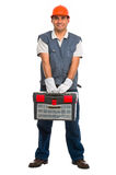 Isolated manual worker Royalty Free Stock Image