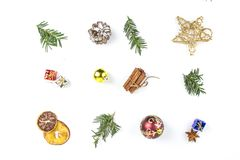 ISOLATED MANY CHRISTMAS ORNAMENTS IN LINE. DECORATIVE ELEMENTS ON WHITE BACKGROUND. MERRY CHRISTMAS. DECORATIVE ELEMENTS OVERHEAD PHOTO. BEAUTYFUL ORNAMENT TOOLS royalty free stock images