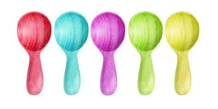 Isolated many color Wooden Kitchen spoons on white background Stock Photo
