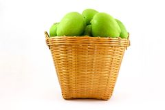 green mangoes in the basket royalty free stock photo