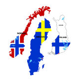 Isolated maps of Norway, Sweden and Finland Stock Images