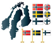 Isolated maps of Norway, Sweden and Finland. Vector of maps of Norway, Sweden and Finland, and also flags and glossy buttons Stock Photo