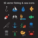 Isolated marine and fishing icons set Stock Photos