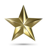 Isolated Matallic Golden Star on White background Stock Photos