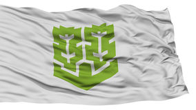 Isolated Matsuyama Flag, Capital of Japan Prefecture, Waving on White Background Stock Photos