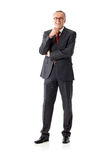 Isolated mature business man, standing, hand on chin Royalty Free Stock Image