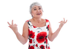 Isolated mature lady with questioning look Royalty Free Stock Photography
