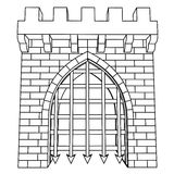 Isolated medieval gate vector drawing or coloring Royalty Free Stock Image
