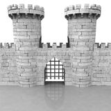 Isolated medieval stoned castle gate with towers. Illustration Stock Image