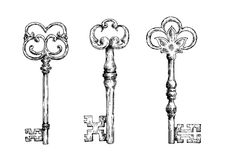 Isolated medieval victorian forged keys sketches. Isolated medieval forged keys with bows, decorated by victorian lily elements and ornate by flourishes. Sketch Royalty Free Stock Images
