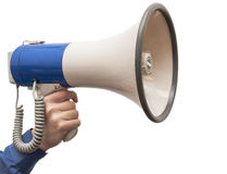 Isolated megaphone in hand Royalty Free Stock Photo