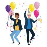 Isolated men in celebration design. Men with hat design, happy birthday celebration decoration party festive and surprise theme Vector illustration stock illustration