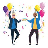 Isolated men in celebration design. Men with hat design, happy birthday celebration decoration party festive and surprise theme Vector illustration vector illustration