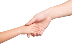 Isolated men and children hand hold each other royalty free stock photo