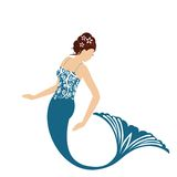 Isolated mermaid. Beautiful mermaid creature half human half fish isolated Royalty Free Stock Photos
