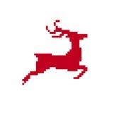 Isolated Merry Christmas pixel reindeer Royalty Free Stock Image