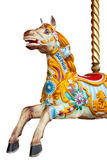 Isolated merry-go-round horse. Traditional painted carousel horse isolated on a white background with clipping path Royalty Free Stock Image