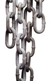 Isolated metal chain links. A close-up view of a worn metal chain, isolated on a pure white background stock photography