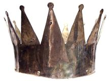 Symbolic Metal Crown. Isolated metal crown for monarch stock images
