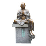 Isolated metal monk statue overwhite background Stock Images