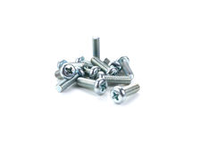 Isolated metal screws on white background. Isolated screws on white background royalty free stock images