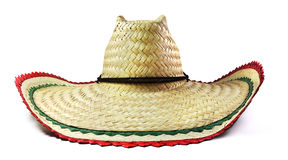 Isolated Mexican Sombrero. Mexican straw hat sombrero on a white background Royalty Free Stock Photo