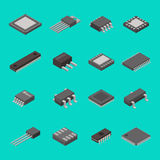 Isolated microchip semiconductor computer electronic components isometric icons vector illustration Royalty Free Stock Photo