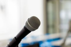 isolated microphone in classroom royalty free stock image