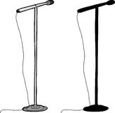 Isolated Microphone Stand. Cartoon and silhouette microphone stand over white background Stock Photography