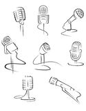Isolated microphones Royalty Free Stock Photos