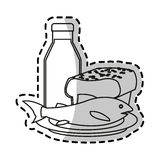 Isolated milk bread and fish design. Milk bread and fish icon. Healthy organic fresh and natural food theme. Isolated design. Vector illustration vector illustration