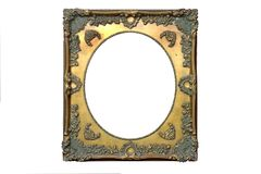 Isolated Mirror Frame, Ornamentation, Wooden Material stock photo