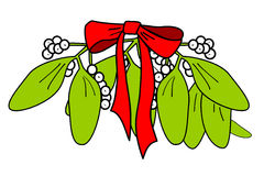 Isolated mistletoe with red ribbon Stock Photo
