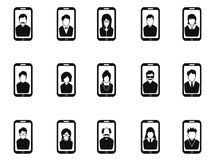 Mobile phone avatar icons set Royalty Free Stock Photography