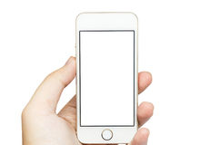 Isolated mobile phone on hand. Isolated mobile phone on hand with white background Royalty Free Stock Photos