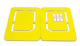 Isolated Mobile Phone SIM Card Front Back Stock Photography