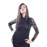 Isolated model with black dress Stock Photos