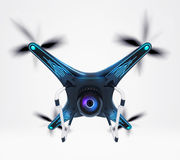 Isolated modern camera drone in flight Stock Photography