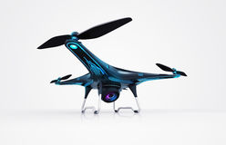 Isolated modern camera drone on white Royalty Free Stock Photos