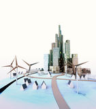 Isolated modern cityscape with windmills at daylight Royalty Free Stock Photo