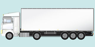 Isolated modern truck. White isolated modern truck on light blue background Stock Photos