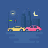 Isolated modern vector illustration of car accident on the background of the city. Trend pseudo volume style. Car crash. Night city with lights. Starry sky and Royalty Free Stock Photography