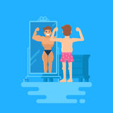 Isolated modern vector illustration of a man standing at the mirror. A bodybuilder is reflected in the mirror. The concept of how people overestimate Royalty Free Stock Photos